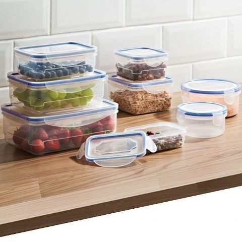 8 Pack Plastic Clip Lock Food Storage Boxes (Blue)